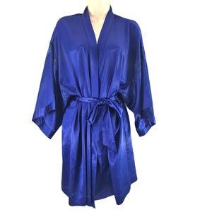 Victoria's Secret Satin Kimono Short Robe Blue